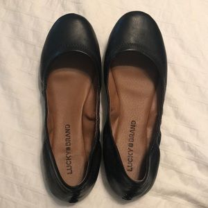 Lucky Brand Black Emmie Leather Flats